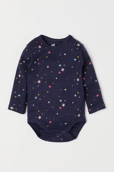 Long-sleeved bodysuit - Dark blue/Stars -  | H&M CN
