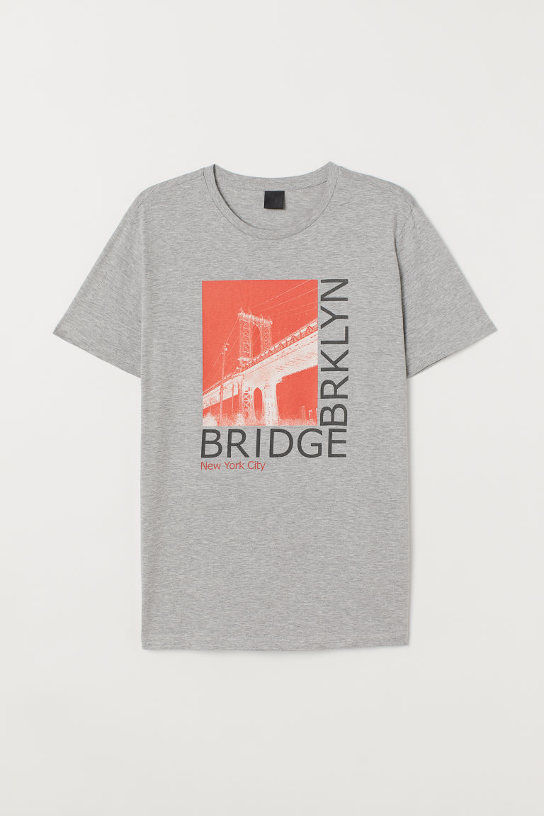 T-shirt with a motif - Grey marl/Brklyn bridge -  | H&M CN