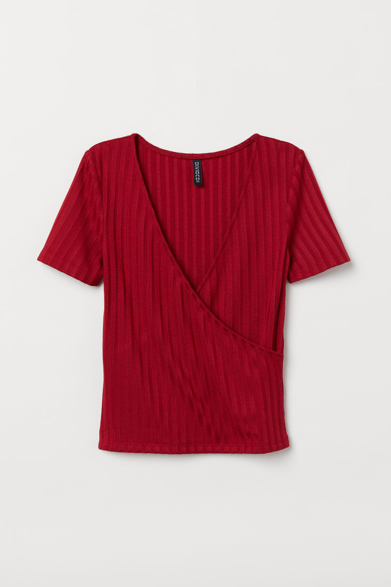V-neck jersey top - Burgundy -  | H&M