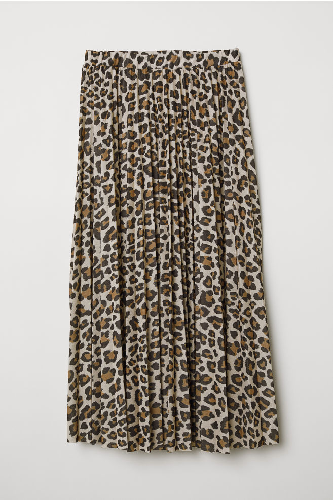 Jupe plissée - Beige/motif léopard - FEMME | H&M FR 5