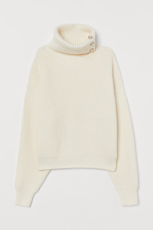 Rib-knit polo-neck jumper