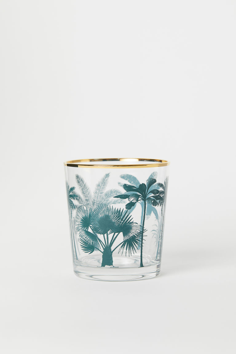 Mønstret drikkeglass - Klart glass/Palmer - Home All | H&M NO