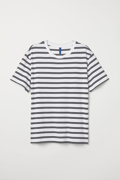 Stripet T-shirt - Hvit/Sort stripet - HERRE | H&M NO