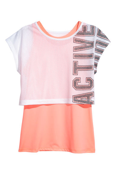 Double-layered sports top - White/Coral pink - Kids | H&M