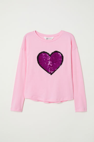 Top with sequins - Pink/Heart - Kids | H&M CN