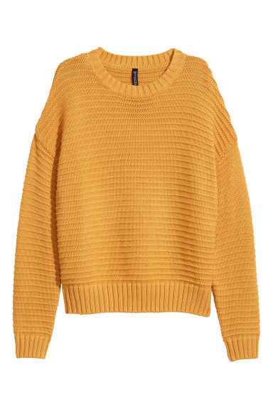 Textured-knit jumper - Mustard yellow - Ladies | H&M