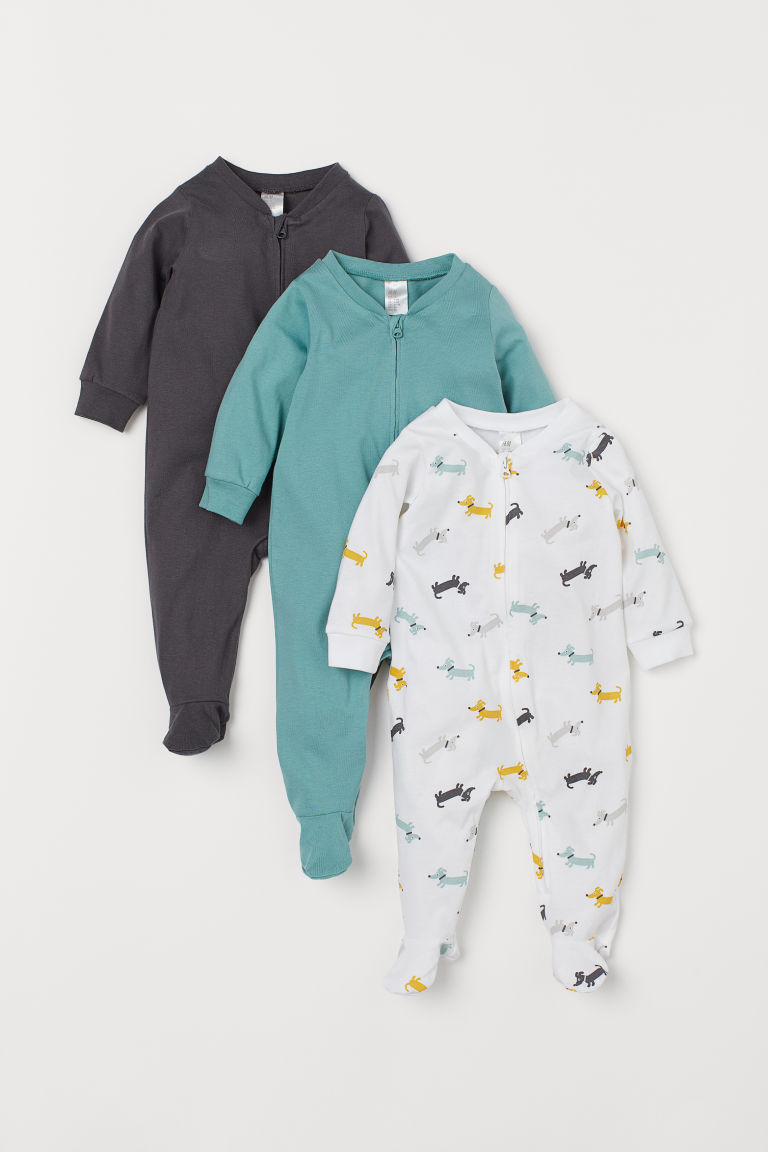 3-pack all-in-one pyjamas - White/Dogs - Kids | H&M