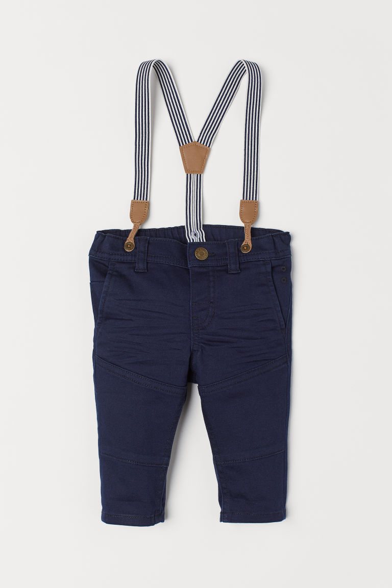 Twill trousers with braces - Dark blue - Kids | H&M