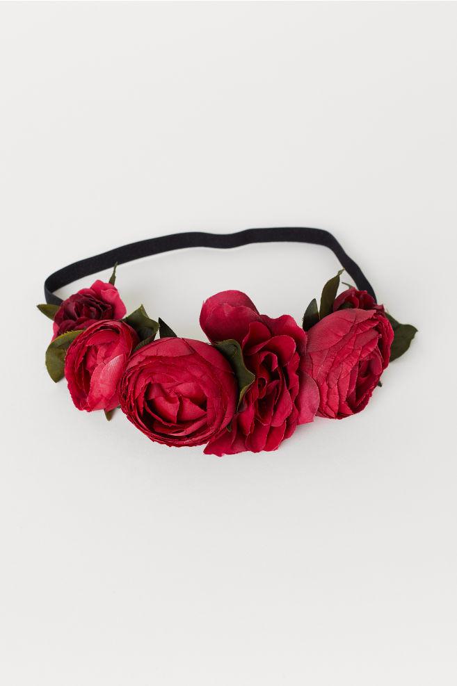 Čelenka s květinami - Červená černá - ŽENY  08b7c05f04