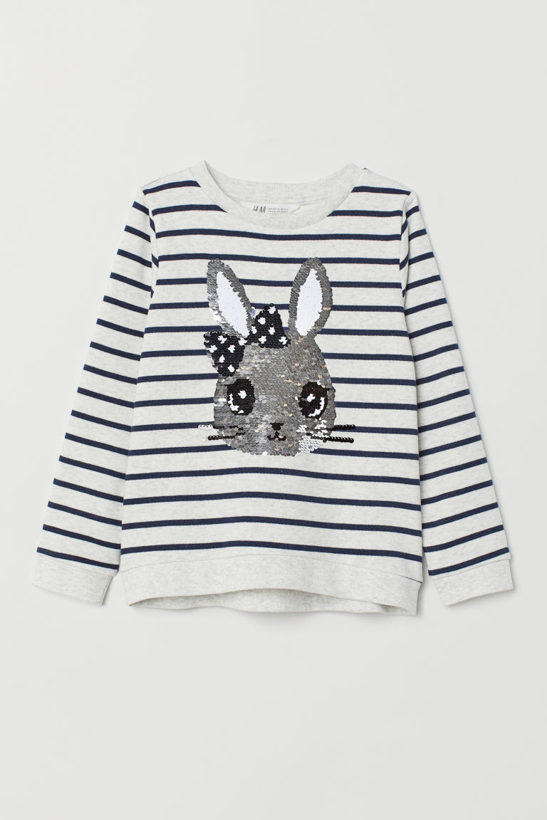 Appliquéd sweatshirt - Grey marl/Sequins - Kids | H&M IE