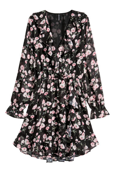 Abito con incrocio - Nero/fiori - DONNA | H&M IT