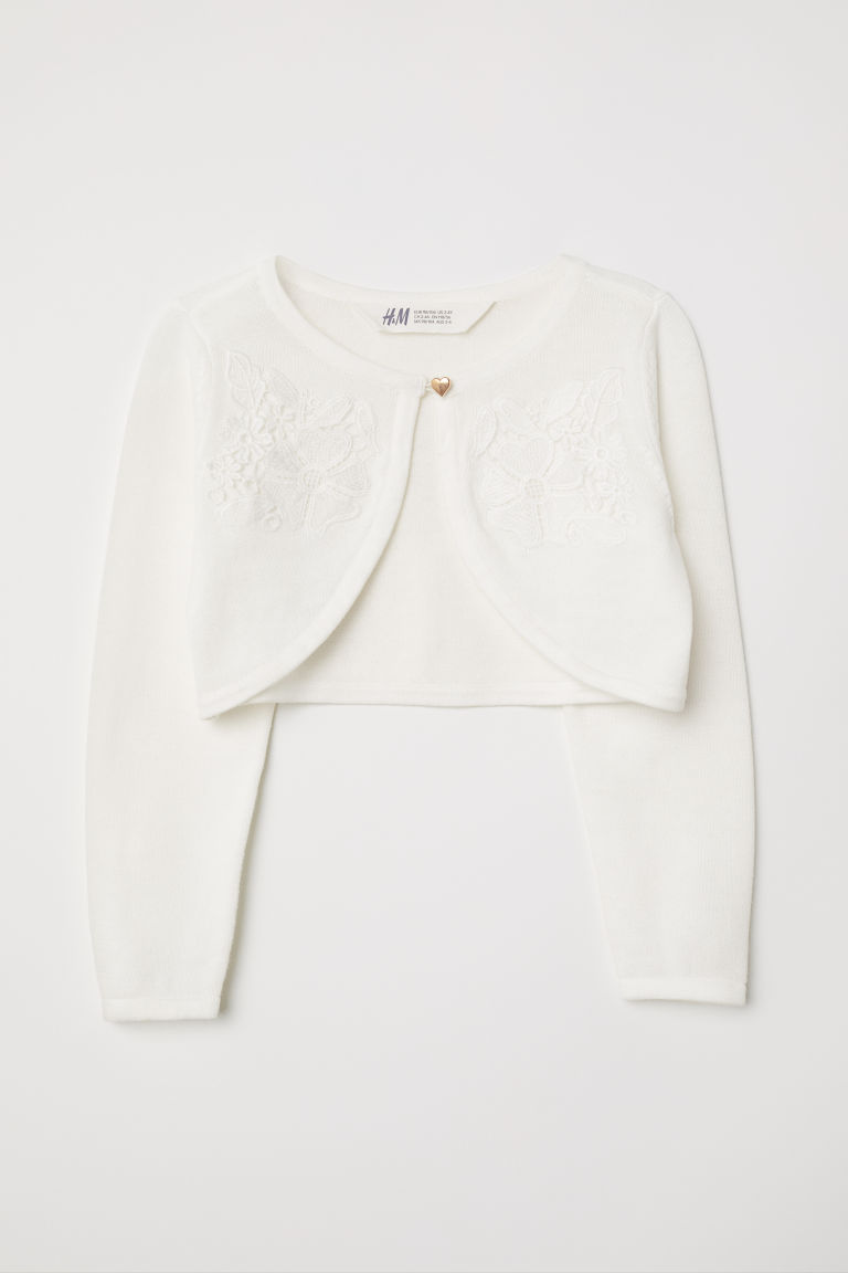 Fine-knit bolero - Natural white - Kids | H&M