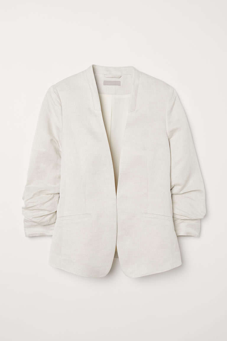 Linen-blend jacket - Cream - Ladies | H&M CN