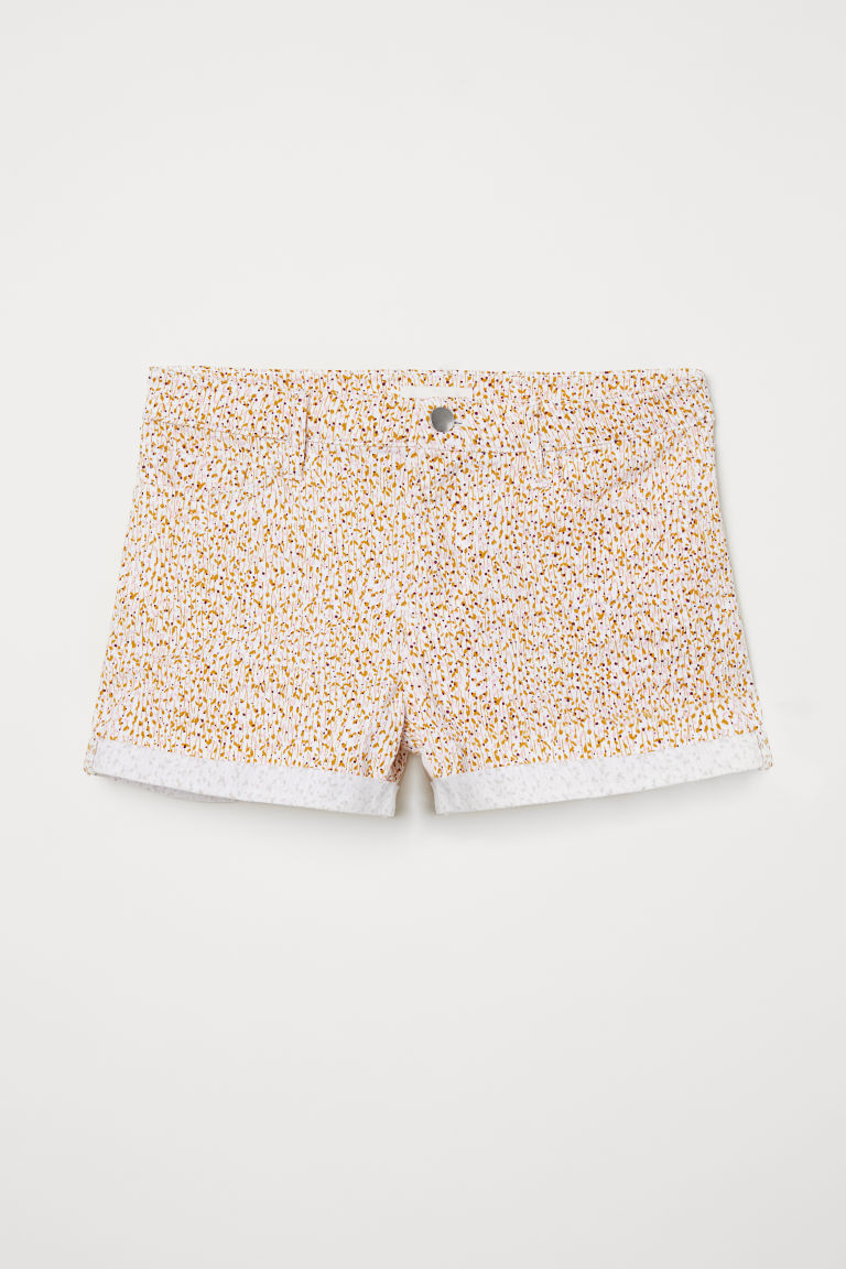 Short twill shorts - White/Beige-patterned - Ladies | H&M