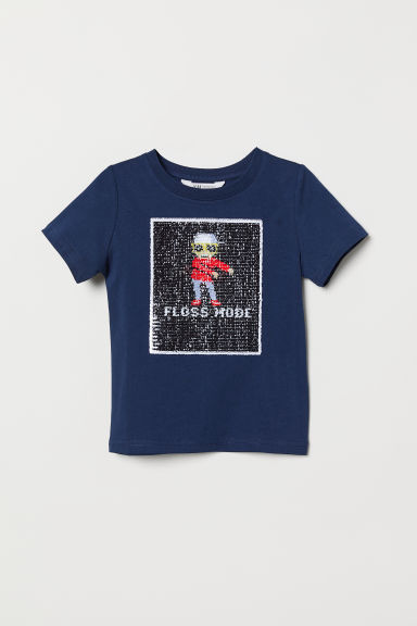 T-shirt with a motif - Dark blue/Floss Mode - Kids | H&M
