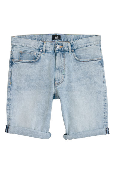 Slim Denim Shorts - Blu denim chiaro/washed - UOMO | H&M CH