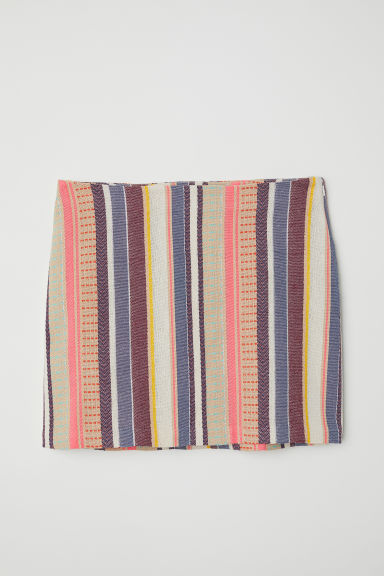 Jacquard-weave skirt - Beige/Multicoloured stripes -  | H&M CN