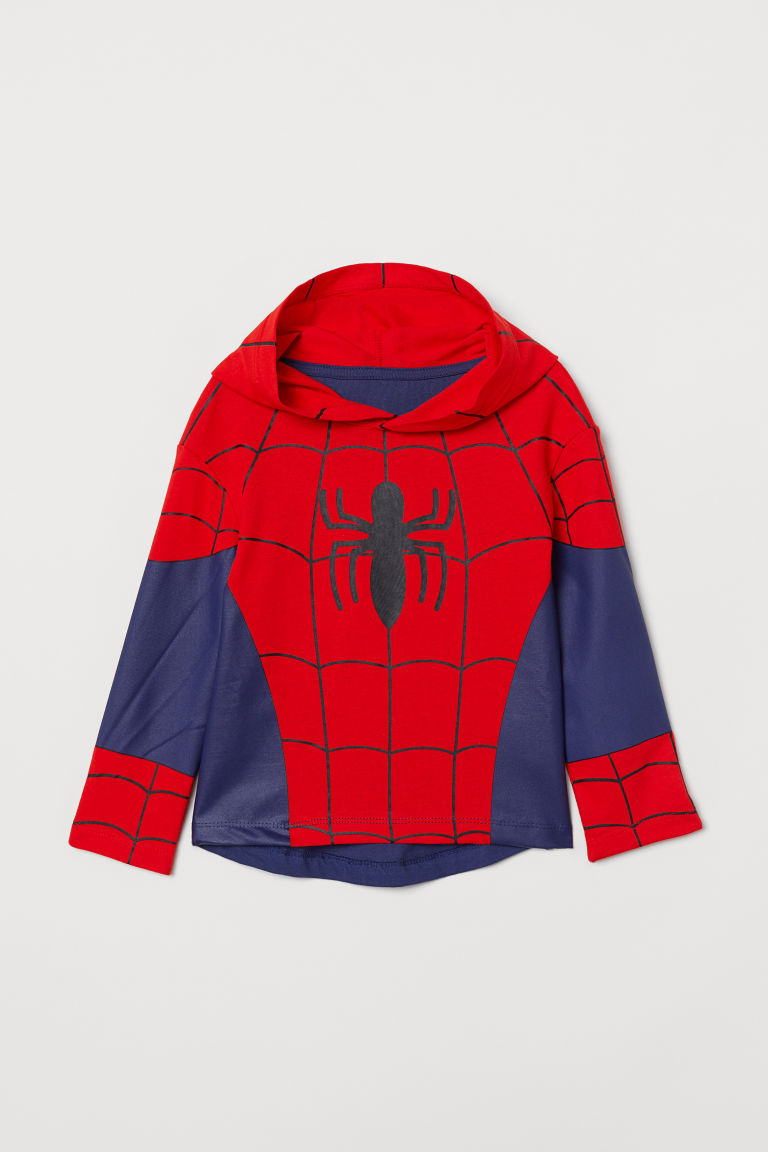 Printed hooded top - Red/Spider-Man - Kids | H&M