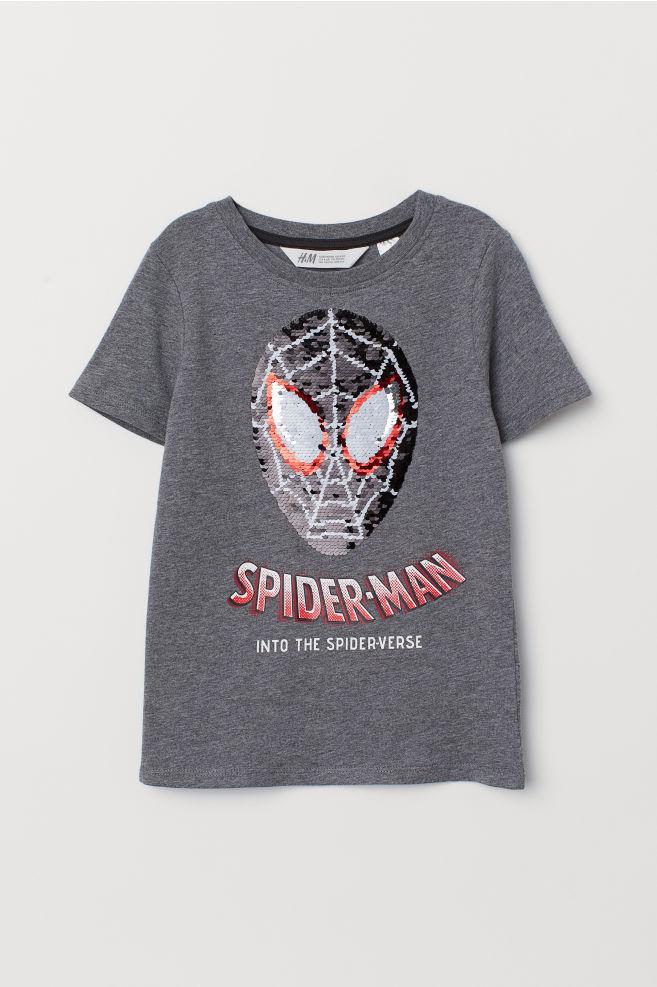 4be000adb Reversible Sequin T-shirt - Grey marl/Spider-Man - Kids   H&M US