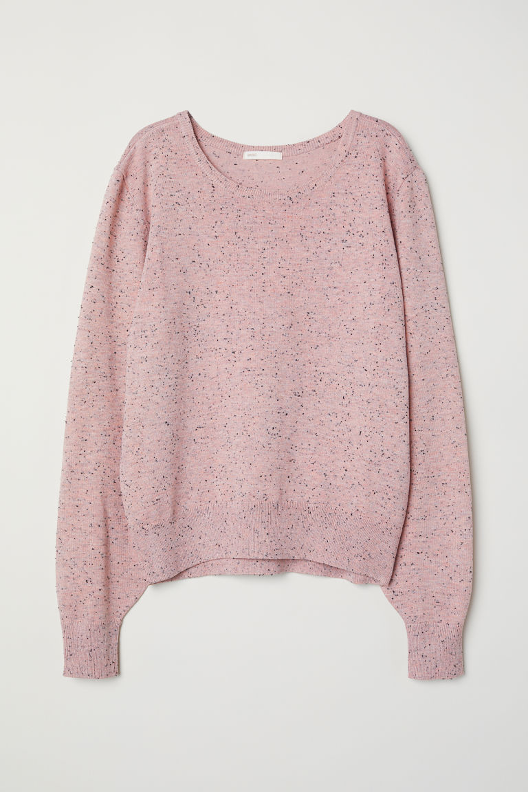 Fine-knit jumper - Light pink/Nepped - Ladies | H&M CN