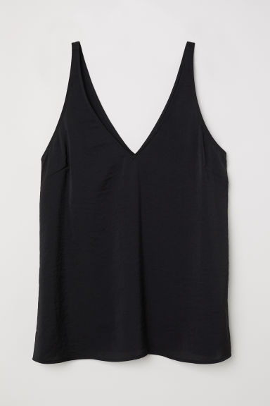 V-neck satin strappy top - Black -  | H&M CN