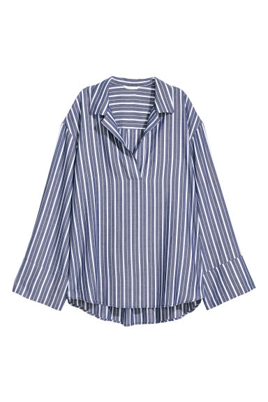 V-neck blouse - Blue/White striped -  | H&M