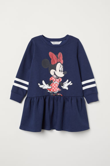 Sweatshirt dress - Dark blue/Minnie Mouse - Kids | H&M CN