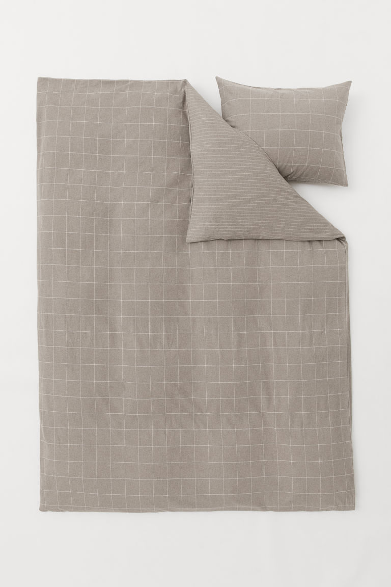 Flannel duvet cover set - Beige/Patterned - Home All | H&M CN
