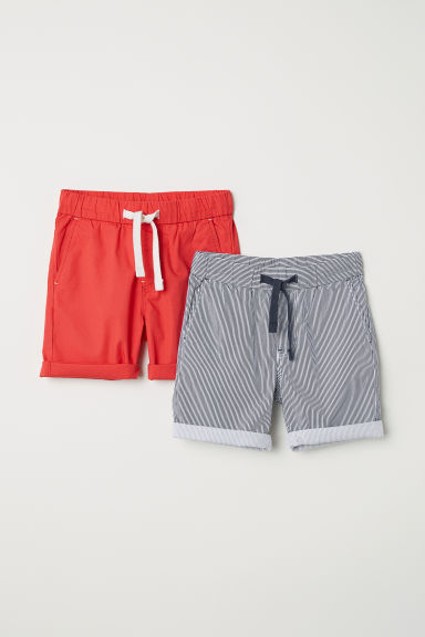 2-pack shorts - Red/Striped - Kids | H&M