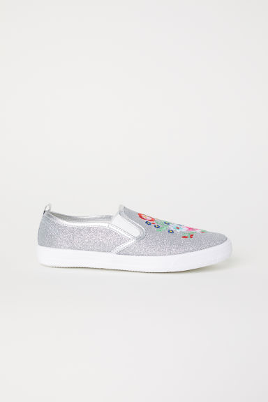 Glittery slip-on trainers - Silver-coloured - Kids | H&M CN
