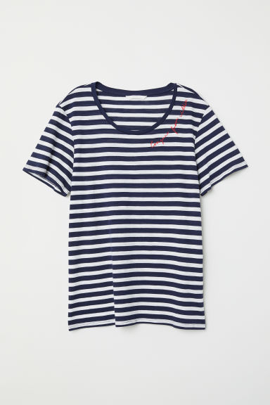 T-shirt with a motif - Dark blue/White striped - Ladies | H&M
