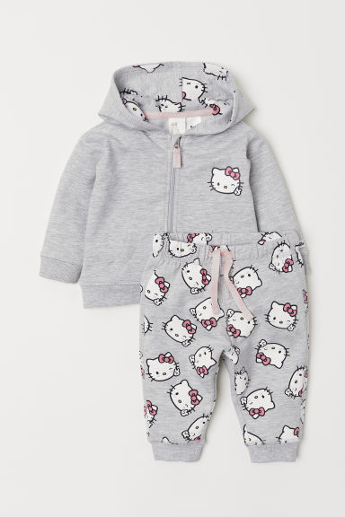 Hooded jacket and trousers - Light grey marl/Hello Kitty - Kids | H&M