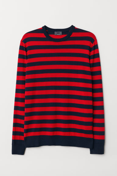 Merino wool jumper - Red/Striped - Men | H&M