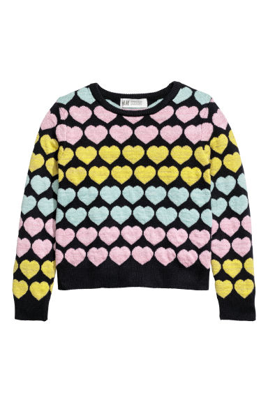 Jacquard-knit jumper - Dark blue/Hearts -  | H&M CN
