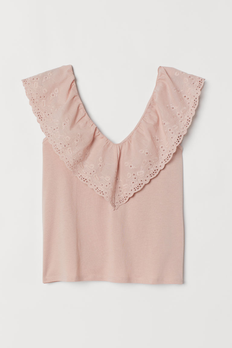 Top with broderie anglaise - Powder pink - Ladies | H&M GB