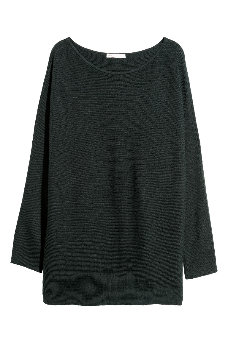 Rib-knit jumper - Dark green - Ladies | H&M