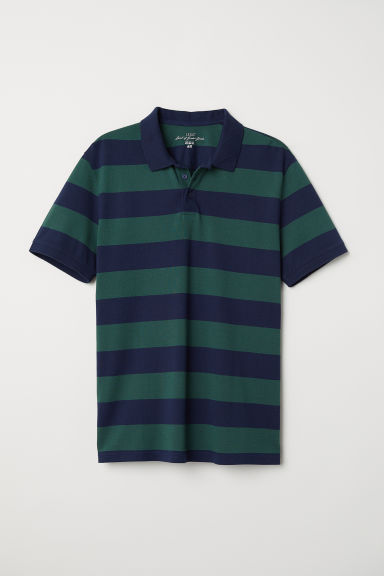 Striped polo shirt - Dark green/Blue striped -  | H&M CN