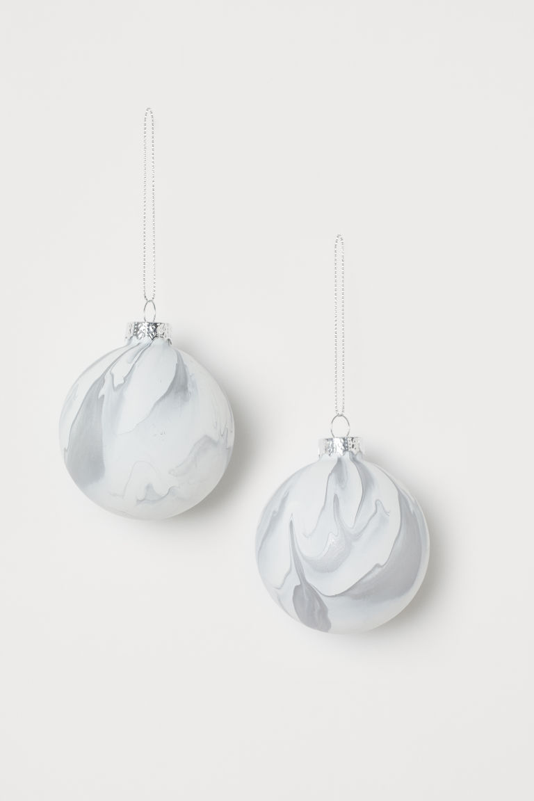 Boules en verre, lot de 2 - Blanc/argenté - Home All | H&M CA