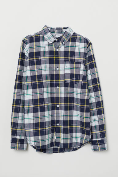 Cotton shirt - Dark blue/White checked - Kids | H&M CN