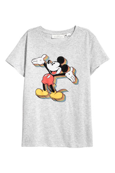 Printed T-shirt - Grey marl/Mickey Mouse - Ladies | H&M