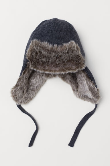 Hat with earflaps - Dark grey marl -  | H&M CN
