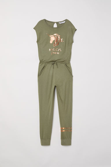 Jersey playsuit - Khaki green/Unicorn - Kids | H&M CN