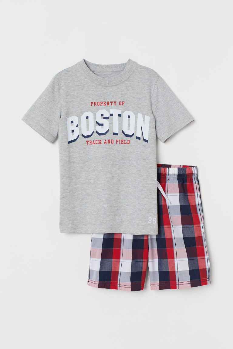 Pyjama T-shirt and shorts - Grey marl/Checked - Kids | H&M