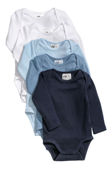 5-pack bodysuits - Light blue/Dark blue -  | H&M