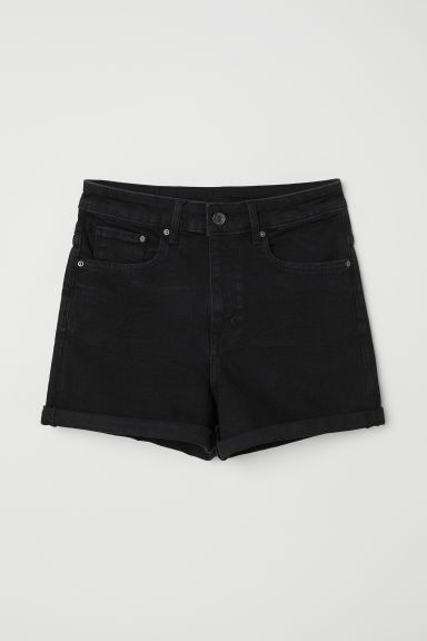 Denim shorts High Waist - Black denim - Ladies | H&M CN