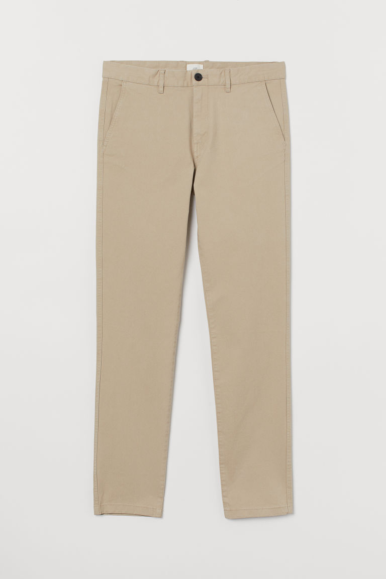 Chinos i bomull Skinny fit - Lys beige - HERRE | H&M NO