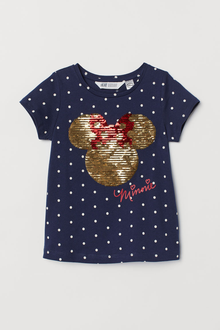 Top with reversible sequins - Dark blue/Minnie Mouse - Kids | H&M