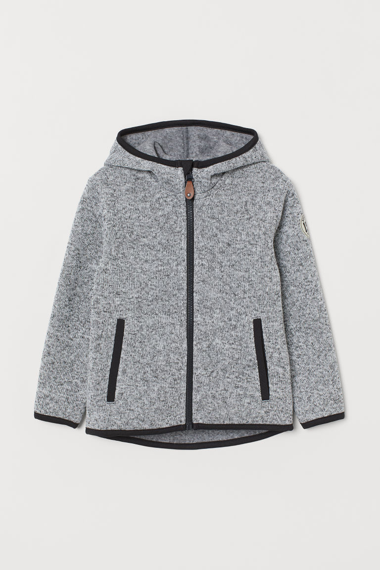 Knitted fleece jacket - Light grey marl - Kids | H&M CN