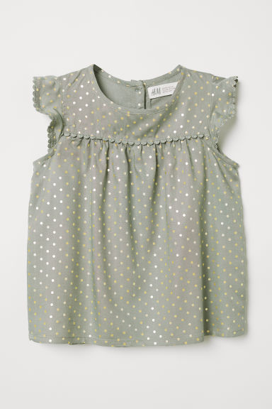 Blouse with lace trims - Khaki green/Gold-colour spots - Kids | H&M CN