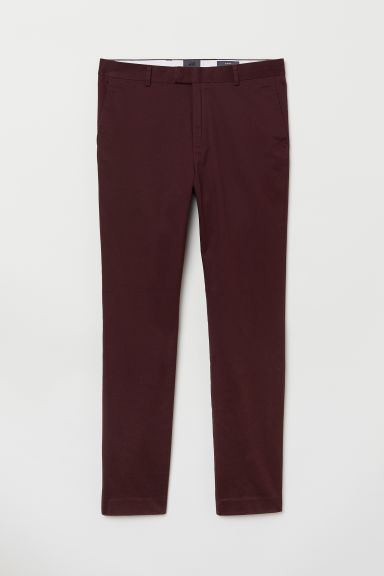 Cotton chinos Slim Fit - Burgundy - Men | H&M